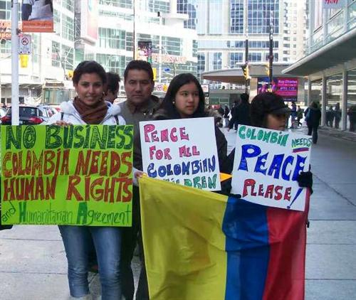March downtown for the Human Rights in Colombia